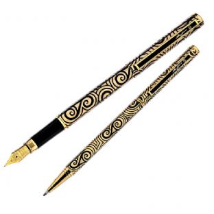 Gold Triskelion Pen Set